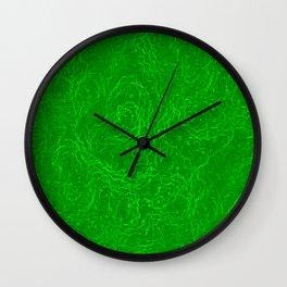 Neon Green Alien DNA Plasma Swirl Wall Clock