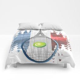 Racquet Eiffel Tower with French flag colors in background Comforters