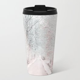 The Winter Road in the Suburb. Travel Mug