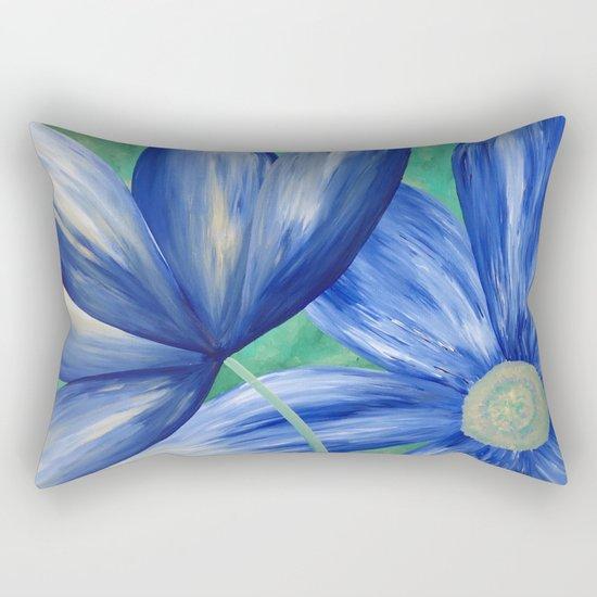 Large Blue Flowers Rectangular Pillow