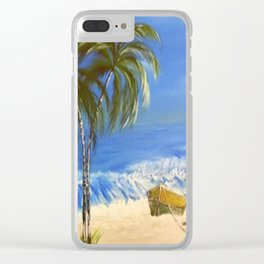 Rocky Weather on the Beach  Oil on Canvas Clear iPhone Case