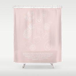 Galatians 5:22-23 Fruit of the Spirit Line Art Sketch Peach Shower Curtain