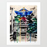 spirited away Art Prints featuring Spirited Away by Sandra Ink