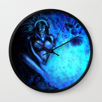 pocahontas Wall Clocks featuring Pocahontas by Brood Studio: Artwork of Jared Hetner
