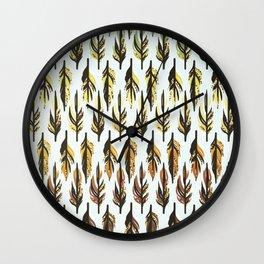 Boho Feather Pattern Wall Clock