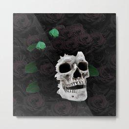Flowers Black Skull Metal Print
