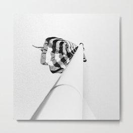 one flag pole, black and white Metal Print