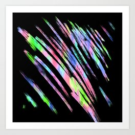 Abstract pink teal lime green black watercolor brushstrokes Art Print