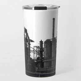 Bethlehem Steel Blast Furnaces in black and white 6 Travel Mug