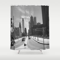 philadelphia Shower Curtains featuring Philadelphia Streets by Erica Torres