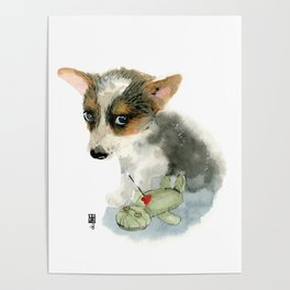 little dog with voodoo doll begging for love Poster