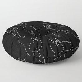 Cats in Black Floor Pillow
