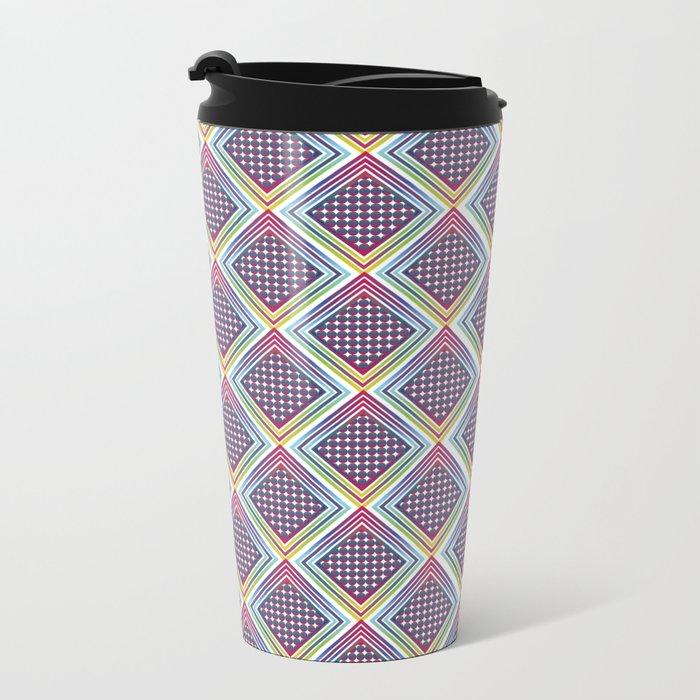 Gradient Rhombus Metal Travel Mug