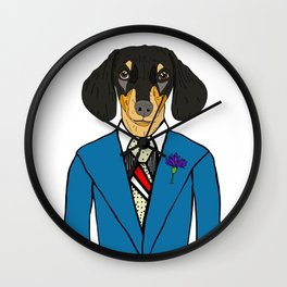 Dachshund in Suit Wall Clock