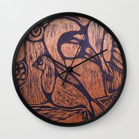 wesley bird Wall Clocks featuring bird      by Amy Fan
