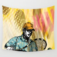 tennis Wall Tapestries featuring Tennis Backhand by WIGEGA