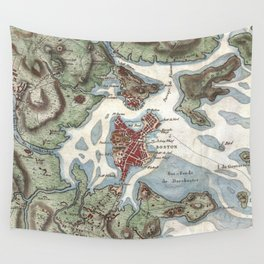 Vintage Map of Boston Harbor (1807) Wall Tapestry