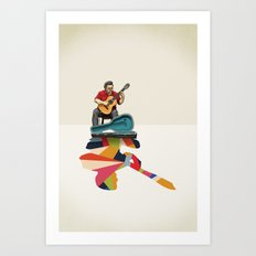 Walking Shadow, Guitarist Art Print
