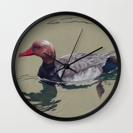 Red Crested Pochard (Netta Rufina) Colored Pencils Artwork Wall Clock