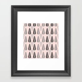 Pink Retro Floral Tree Pattern-Mix and Match with Simplicity of Life Framed Art Print