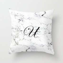 Letter U on Marble texture Initial personalized monogram Throw Pillow