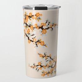 Japanese Sakura Cherry Blossoms (ivory/orange) Travel Mug