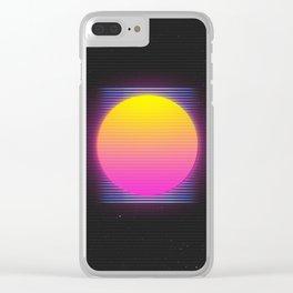Retro 80's Neon Sunrise Clear iPhone Case