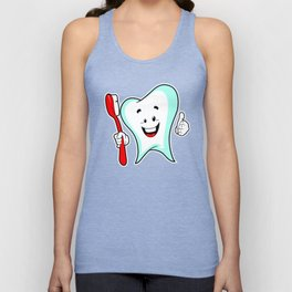 Dental Care happy Tooth with Toothbush Unisex Tank Top