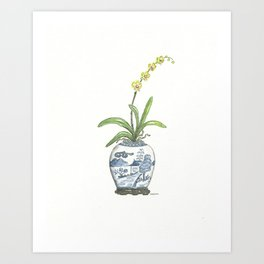 Chinoiserie Vase Yellow Orchid Art Print