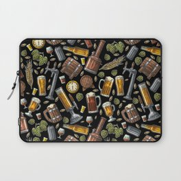 Beer Makes The World Go Round - Black Pattern Laptop Sleeve