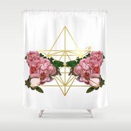 Geometric Peonies Shower Curtain