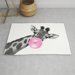 Bubble Gum Black and White Sneaky Giraffee Rug