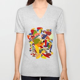 Colorful pebbles on black Unisex V-Neck