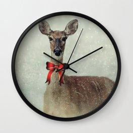 Christmas Deer Holiday Greetings Wall Clock