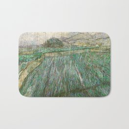 Vincent Van Gogh Wheat Field In Rain Bath Mat