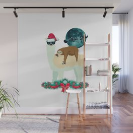 Llama Sloth Christmas Santa's Sleigh Silhouette In Front Of The Moon Wall Mural