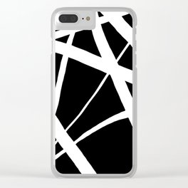 Geometric Line Abstract - Black White Clear iPhone Case