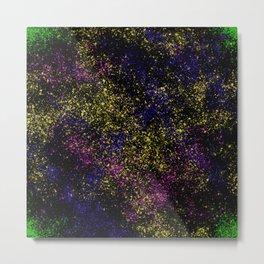 Neon Splatter in Black Metal Print