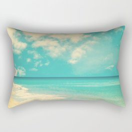 Waves of the sea (retro beach and blue sky) Rectangular Pillow