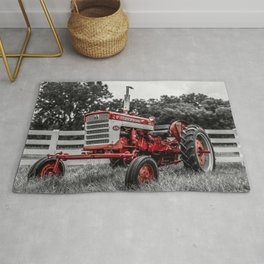 IH 240 Farmall Tractor Red Tractor Color Isolation Rug