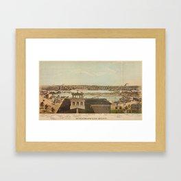 Vintage Pictorial Map of Minneapolis MN (1874) Framed Art Print