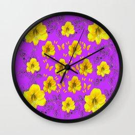 YELLOW AMARYLLIS FLOWERS & BUTTERFLIES PURPLE ART Wall Clock
