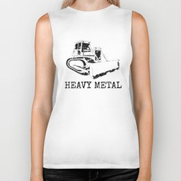 Heavy Metal Dozer Digger Funny Cute Backhoe Bulldozer Black Biker Tank