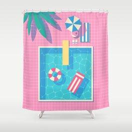 Retro 80s Swimming Pool Shower Curtain