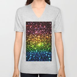 Geometric Galaxy Stars : Rainbow Unisex V-Neck