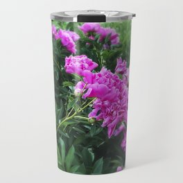 Pink Peonies in Garden Tilt Shift Travel Mug