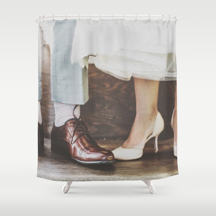 Vintage Swing Couple Shoes Shower Curtain by thebackwaterco | Society6