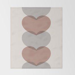 Hearts - Cocoa & Gray Throw Blanket