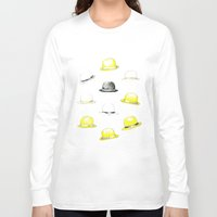 hats Long Sleeve T-shirts featuring Bowler hats by Susana Miranda ilustración