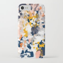 Stella - Abstract painting in modern fresh colors navy, orange, pink, cream, white, and gold iPhone Case